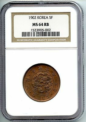 Korea  1902  5 Fun  Year 6   Ngc Ms 64 Rb  오푼