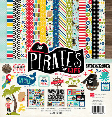 Echo Park Pirate's Life (1) 12X12 Scrapbook Collection Pack Kit Boat Skulls