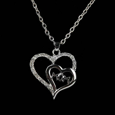 Mom Crystal Double Heart Charm Pendant Necklace Chain Women Jewelry Family Gift