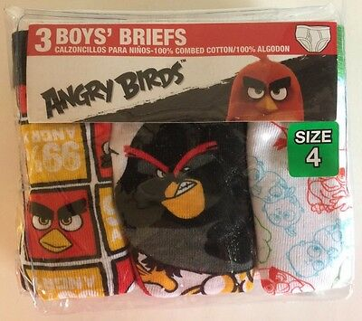 """Boy's """"ANGRY BIRDS"""" 3-Pack Briefs (Size 4) 100% Combed Cotton NEW"""
