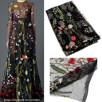 53'' 1 Yard Polyester Floral Embroidery Black Mesh Wedding Dress Lace Fabric