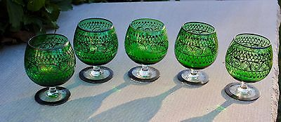 ANTIQUE GREEN GLASS 5 FOOTED CORDIALS w SILVER OVERLAY