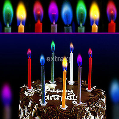 6PCS/Lot Colored Happy Birthday Cake Candles Safe Flames Party Home Decoration