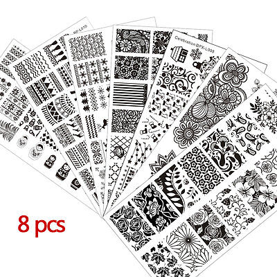 8pcs Born Pretty Hot Nail Art Stamping Plates Stainless Steel Template Tool Set