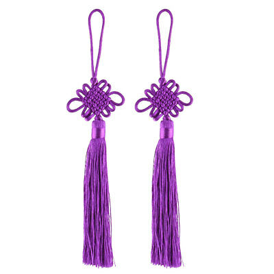 Car Polyester Knitted Tassel Hanging Decor Chinese Knot Ornament Purple 2pcs