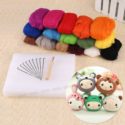 AU 16 Colors Wool Felt + 9 Needles Felt Tool Set Needle Felting Mat Starter Kit