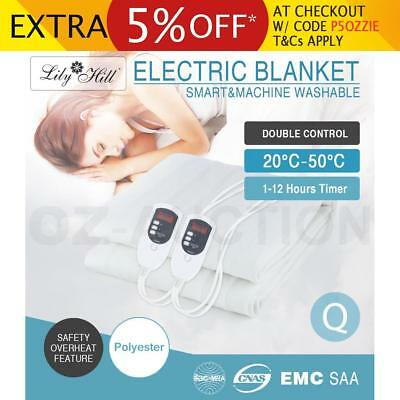 Queen Size Electric Heated Blanket Smart Safety Fully Fitted Polyester Luxury