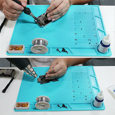 AU Heat Insulation Silicone Rubber Mat Pad Soldering 35x25cm With Screw Position
