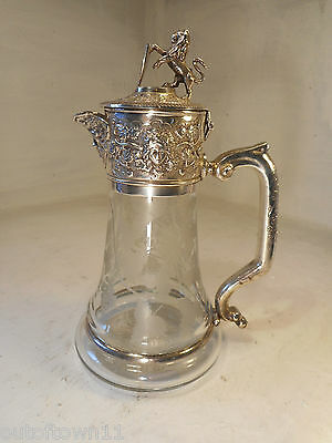 Quality Silver Plate Cut Glass Claret Jug , Decanter  Pitcher , Lion   ref 2663