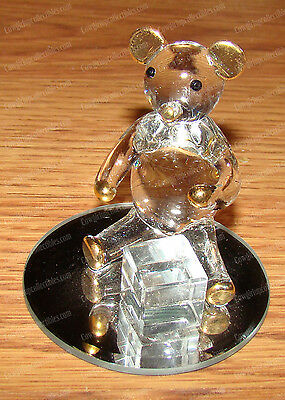 Hand-Blown Glass Teddy Bear on Mirror (Glass Creations CSH-31) Gold Trim