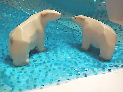 Polar Bears, Pair of 2, Satin Finish Porcelain, Vintage by Crowning Touch, EUC