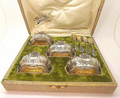 Beautiful Set Of 4 Silver Antique Au Negre Salts In Original Box Paris France