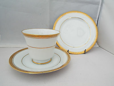 NORITAKE 'RICHMOND' WHITE & GOLD TRIO  1st QUALITY UNUSED