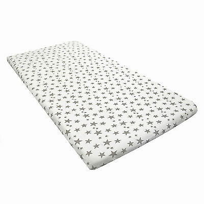New 4Baby Grey Stars Fitted Sheets (1 Sheet) For Chicco Next 2 Me / Lullago Crib