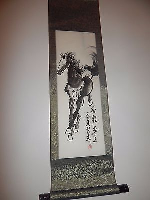 Vintage ANTIQUE Chinese WATERCOLOUR SCROLL Horse CALLIGRAPHY SEAL MARK Large old