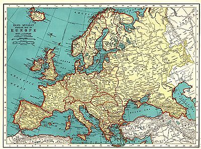 1935 Vintage EUROPE Map Collectible Map of Europe Gallery Wall Art 3698