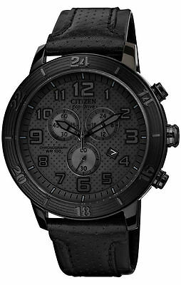 Citizen Men's Watch #at2205-01E Brt Chrono Bnib Triple Black Leather Strap F/sh