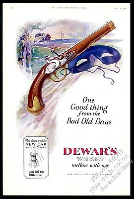 1928 Dewar's Scotch Whisky highwayman pistol mask art vintage print ad