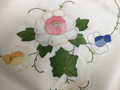"Antique Hand Appliqué Floral Linen Tablecloth 6 Napkins 50"" X 67"" / 127x170cm"