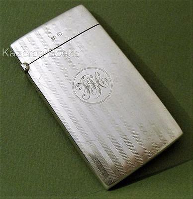 Antique Solid Sterling Silver Engine Turned Card Case 1911 Deakin & Francis 56g