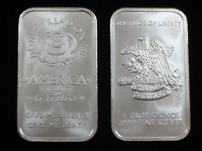 1 oz Silver Bar - .999 silver * Don't Tread on Me / Price of Liberty * (S-402)