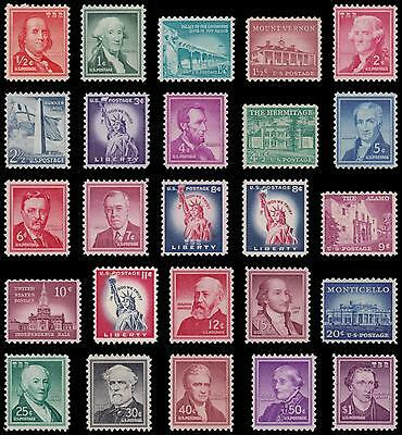 1030-52 1052 Liberty Sheet Issue 1954-68 Set of 25 Stamps ½¢ to $1 MNH - Buy Now