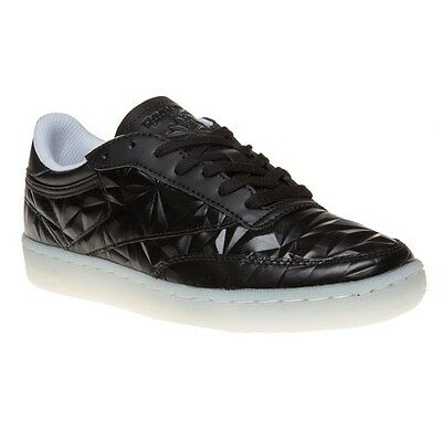 New Womens Reebok Black Club C 85 Hype Metallic Leather Trainers Court Lace Up