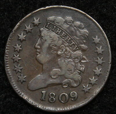 1809 Classic Head Half Cent - Nice Coin, Free Shipping (5375)