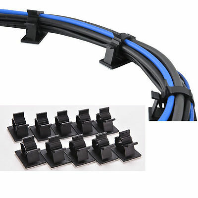 10PCS Cable Clips Adhesive Cord Management Black Wire Holder Organizer Clamps