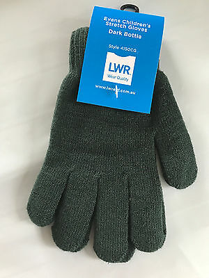 BNWT Boys Girls LWR Brand Bottle Green Knit Primary School Uniform Warm Gloves