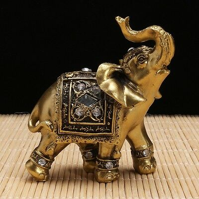 Gold Lucky Elephants Statues Feng Shui Figurine Home Decor Gift
