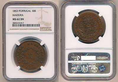 MADEIRA 10 Reis 1852 Copper NGC MS62BN POP 1/0 None finer!