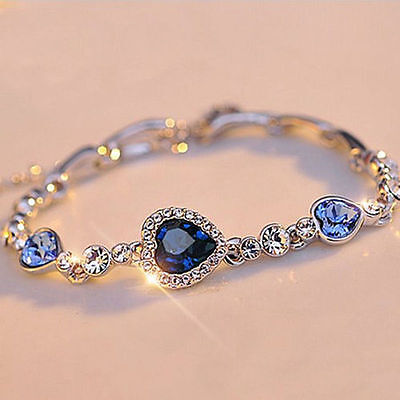 Fashion Women Girls Blue Crystal Jewelry Silver Plated Charm Bracelet Bangle New