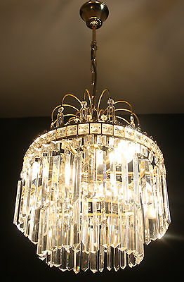 VINTAGE  FRENCH BRASS CHANDELIER 3 TIER CRYSTAL  WATERFALL CEILING LIGHT  (ap2)