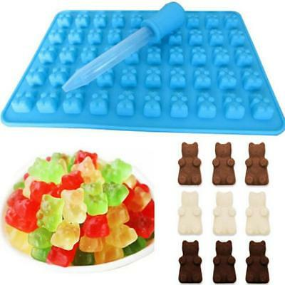 2X 50 Cavity Silicone Gummy Bear Chocolate Mold Candy Maker Ice Tray Jelly Mould