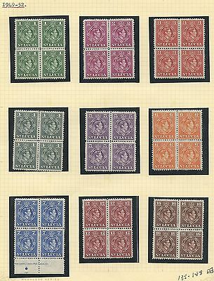 St Lucia 1949 KGVI  issue blocks of 4 Sc #135-143 MNH