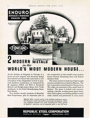 1933 Republic Steel Corp. Toncan Iron Pipe Enduro Stainless Steel Vtg Print Ad