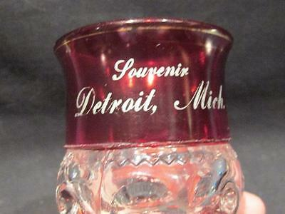 "Detroit Mich Souvenir Ruby Topped Flash 4.75"" Tall Stemmed Glass Goblet"