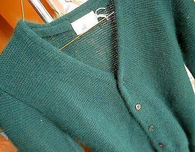 sz 10 VTg 70s Boys FORREST GREEN SEARS ACRYLIC KNIT Cardigan Sweater