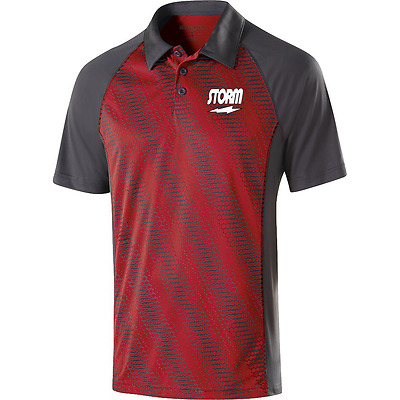 Storm Men's Frantic Performance Polo Bowling Shirt Dri-Fit Red