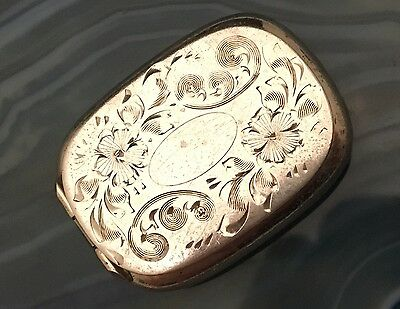 RARE Tiny 925 Sterling Silver Hand Chased Pillbox by Barker Brothers USA -L590