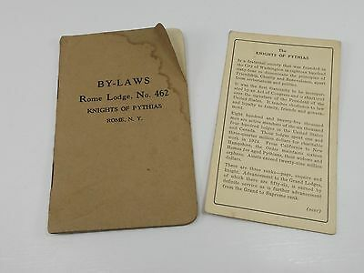 Knights of Pythias By Laws BY-LAWS Rome Lodge NY 462 1920s Fraternal Society