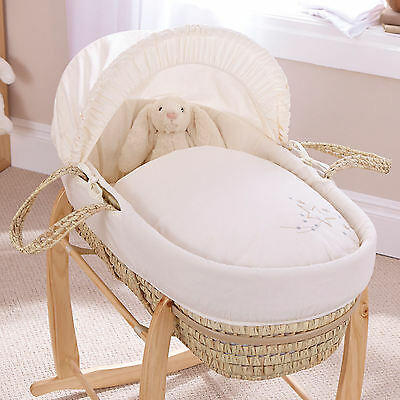 Clair De Lune Starburst Cream Palm Moses Basket And Natural Deluxe Rocking Stand