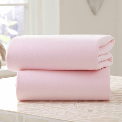 New Clair De Lune Pink Moses Basket 2 Pack Flat Cotton Jersey Interlock Sheets