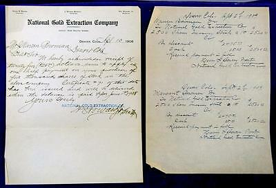 1908 1909 COLORADO National Gold Extraction Co. J. Warren Bowman Stock Sale
