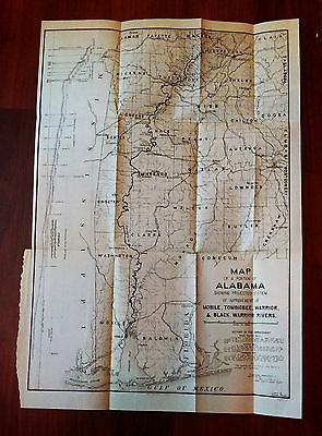1902 Map of Alabama Shows Locks Improvmt of Mobile Tombigbee  Warrior Rivers