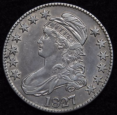 1827 Capped Bust Half Dollar 50 Cents - Nice Coin Free Shipping (5176)