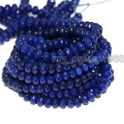Faceted 5X8mm Dark Blue Jade Gemstone Beads Abacus Loose Beads 15'' Strand