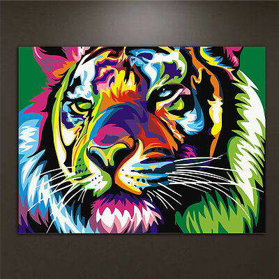 DIY Oil Paint By Numbers Kits Tiger Acrylic Drawing On Canvas Home Decor