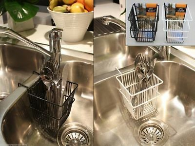 2 Cutlery Baskets Over The Sink Rest Kitchen Accessory Black White Pair